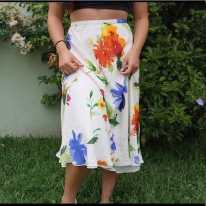 Midi length flower skirt